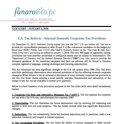 U.S. Tax Reform - Selected Domestic Corporate Tax Provisions