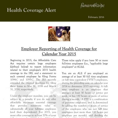 Employer Reporting of Health Coverage for Calendar Year 2015