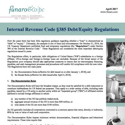Internal Revenue Code 385 Debt/Equity Regulations