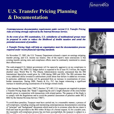 U.S. Transfer Pricing Planning and Documentation