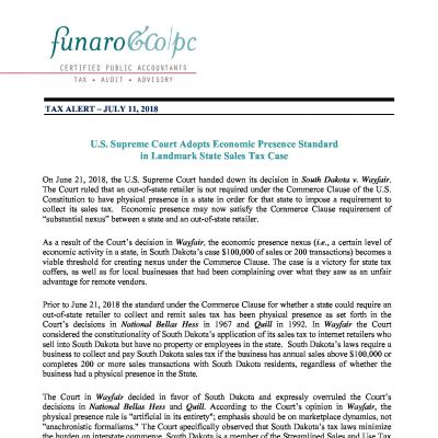 U.S. Supreme Court Adopts Economic Presence Standard  in Landmark State Sales Tax Case