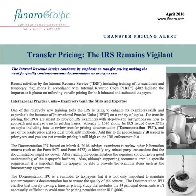 Transfer Pricing: The IRS Remains Vigilant