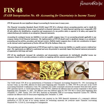 FIN 48 (FASB Interpretation No. 48 - Accounting for Uncertainty in Income Taxes)