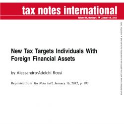 New Tax Targets Individuals With Foreign Financial Assets