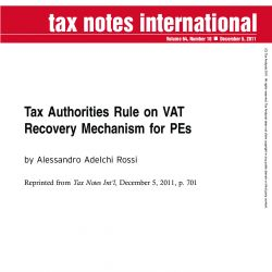 Tax Authorities Rule on VAT Recovery Mechanism for PEs