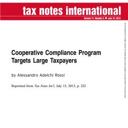Cooperative Compliance Program Targets Large Taxpayers