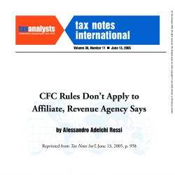 CFC Rules Don't Apply to Affiliate, Revenue Agency Says, Tax Notes International