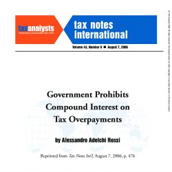 Government Prohibits Compound Interest on Tax Overpayments, Tax Notes International