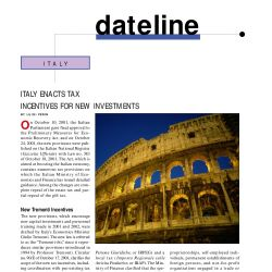 Italy Enacts Tax Incentives for New Investments, Journal of International Taxation