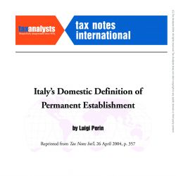 Italy's Domestic Definition of Permanent Establishment, Tax Notes International
