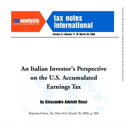 An Italian Investor's Perspective on the U.S. Accumulated Earnings Tax, Tax Notes International