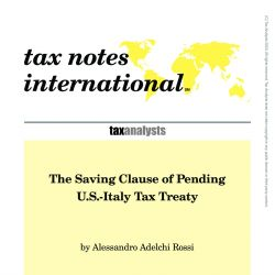 The Saving Clause of Pending U.S.-Italy Tax Treaty, Tax Notes International