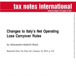 Changes to Italy's Net Operating Loss Carryover Rules