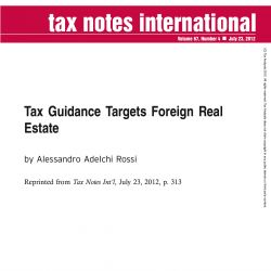 Tax Guidance Targets Foreign Real Estate