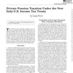 Private Pension Taxation Under the New Italy-U.S. Income Tax Treaty, Tax Notes International