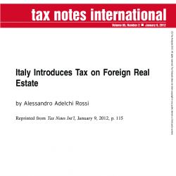 Italy Introduces Tax on Foreign Real Estate