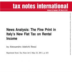 News Analysis: The Fine Print in Italy's New Flat Tax on Rental Income