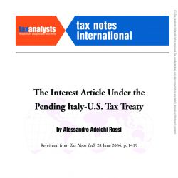 The Interest Article under the Pending US-Italy Treaty, Tax Notes International