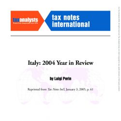 Italy:2004 Year in Review, Tax Notes International