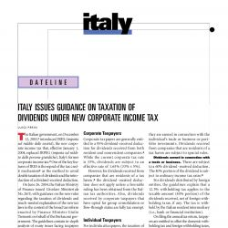 Italy Issues Guidance on Taxation of Dividends Under New Corporate Income Tax, Journal of International Taxation