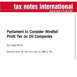 Parliament to Consider Windfall Profit Tax on Oil Companies, Tax Notes International