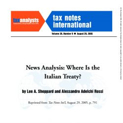News Analysis: Where is the Italian Treaty? Tax Notes International