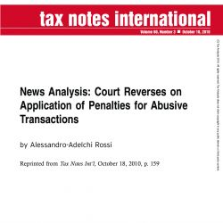 News Analysis: Court Reverses on Application of Penalties for Abusive Transactions
