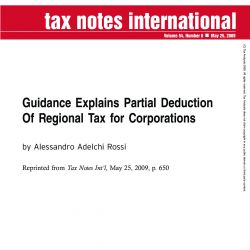 Guidance Explains Partial Deduction of Regional Tax for Corporations, Tax Notes International