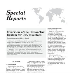 Overview of the Italian Tax System for U.S. Investors, Tax Notes International