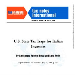 U.S. State Tax Traps for Italian Investors, Tax Notes International