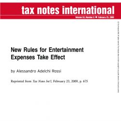 New Rules for Entertainment Expenses Take Effect, Tax Notes International