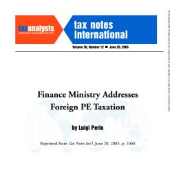Finance Ministry Addresses Foreign PE Taxation, Tax Notes International