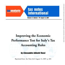 Improving the Economic Performance Test for Italy's Tax Accounting Rules, Tax Notes International